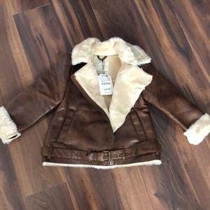 Zara faux leather jacket 7 girl new